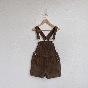Vintage 90s Jumper Overalls Medium Olive Brown